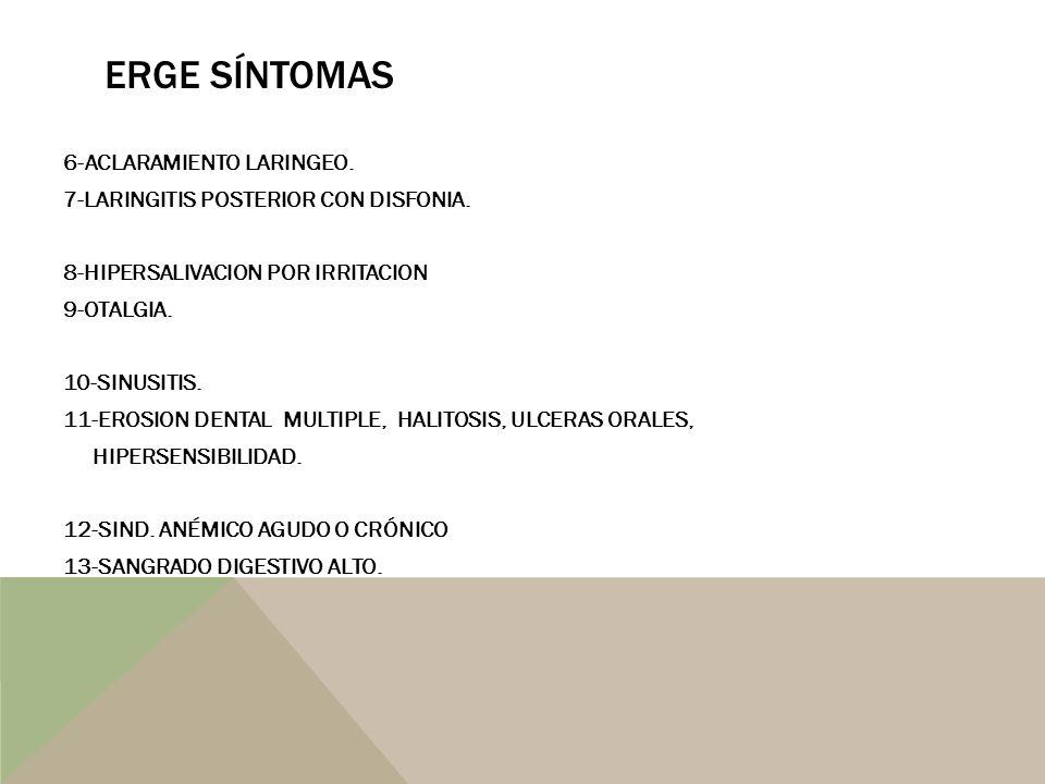 VALOR SÍNTOMAS EN DIAGNÓSTICO DE ERGE Genval Workshop Report -ERGE presente si hay 2 o + episodios reflujo por semana.