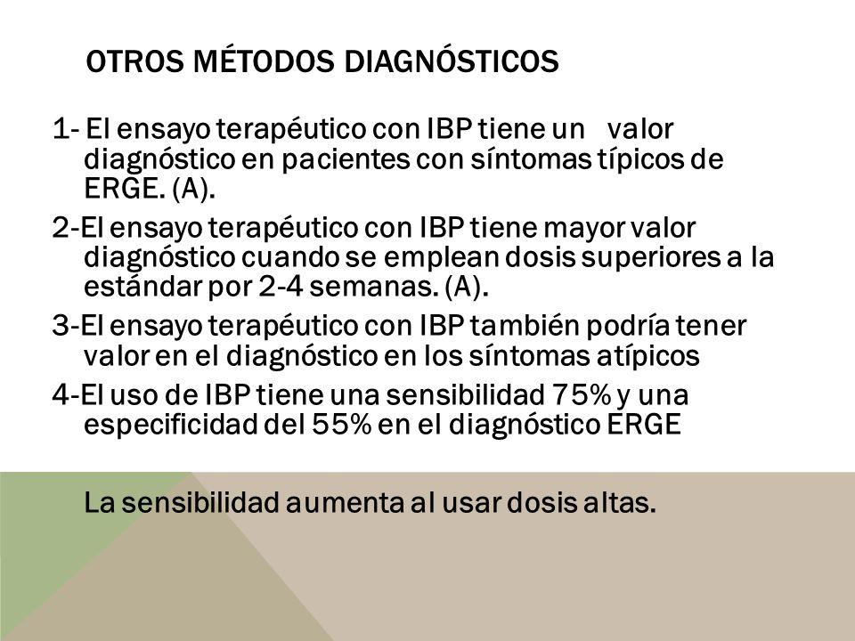 OTROS MÉTODOS DIAGNÓSTICOS 1- El ensayo terapéutico con IBP tiene un valor diagnóstico en pacientes con síntomas típicos de ERGE. (A). 2-El ensayo ter