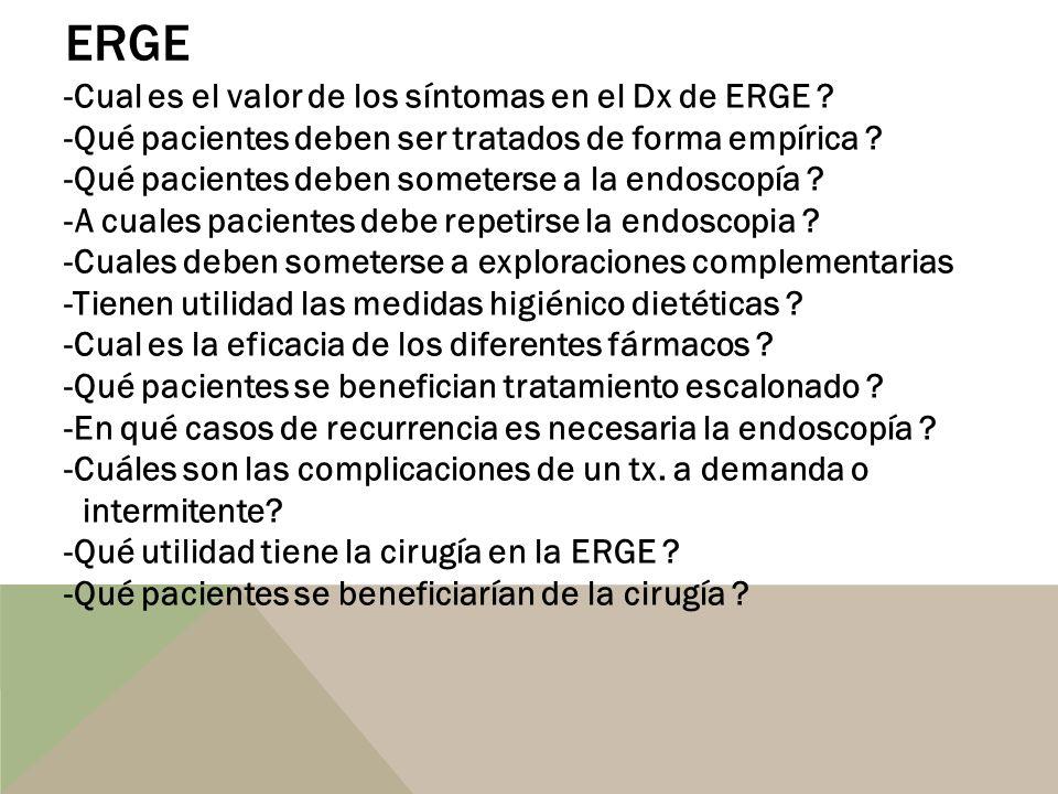 ERGE -Cual es el valor de los síntomas en el Dx de ERGE ? -Qué pacientes deben ser tratados de forma empírica ? -Qué pacientes deben someterse a la en