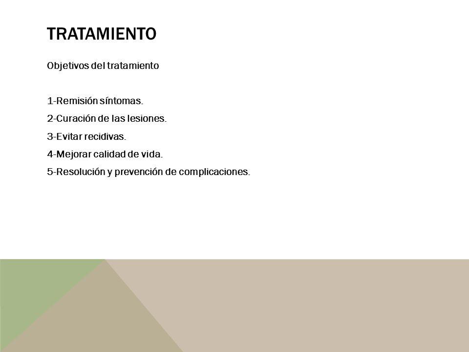 TRATAMIENTO Objetivos del tratamiento 1-Remisión síntomas. 2-Curación de las lesiones. 3-Evitar recidivas. 4-Mejorar calidad de vida. 5-Resolución y p