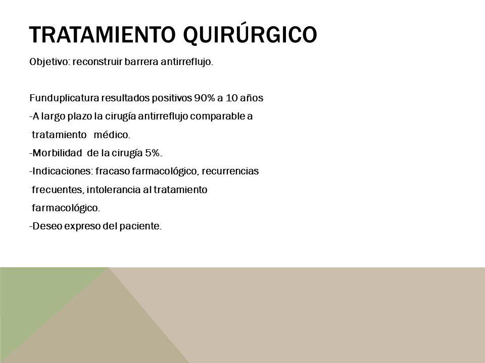 TRATAMIENTO QUIRÚRGICO Objetivo: reconstruir barrera antirreflujo. Funduplicatura resultados positivos 90% a 10 años -A largo plazo la cirugía antirre