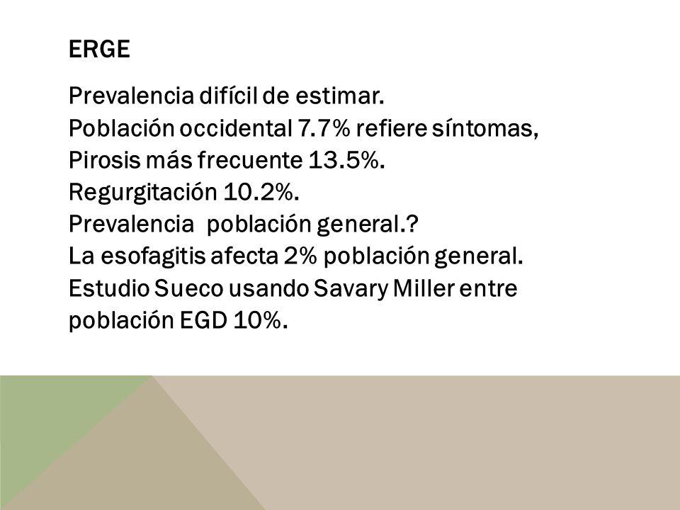 ERGE Prevalencia difícil de estimar. Población occidental 7.7% refiere síntomas, Pirosis más frecuente 13.5%. Regurgitación 10.2%. Prevalencia poblaci
