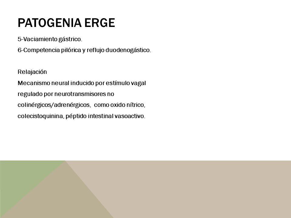 PATOGENIA ERGE 5-Vaciamiento gástrico. 6-Competencia pilórica y reflujo duodenogástico. Relajación Mecanismo neural inducido por estímulo vagal regula