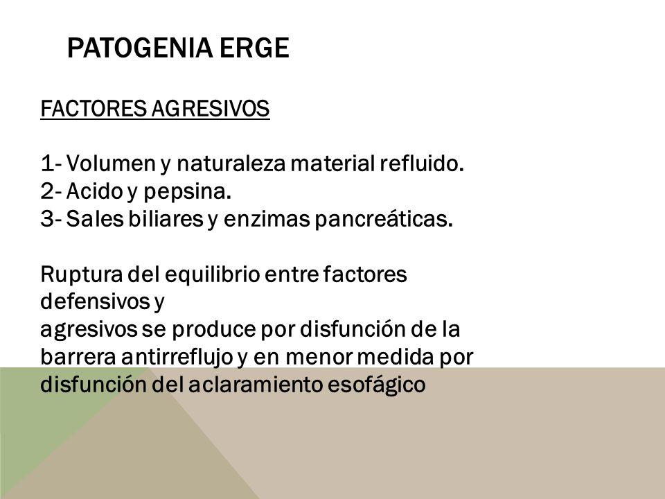 PATOGENIA ERGE FACTORES AGRESIVOS 1- Volumen y naturaleza material refluido. 2- Acido y pepsina. 3- Sales biliares y enzimas pancreáticas. Ruptura del