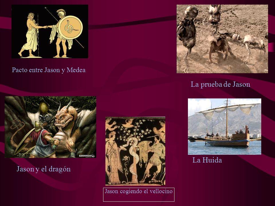 Jason cogiendo el vellocino Pacto entre Jason y Medea La prueba de Jason Jason y el dragón La Huida
