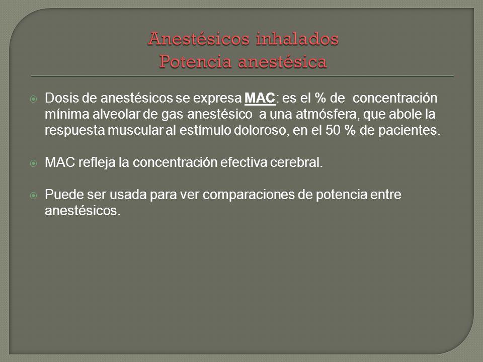Dosis de anestésicos se expresa MAC: es el % de concentración mínima alveolar de gas anestésico a una atmósfera, que abole la respuesta muscular al es