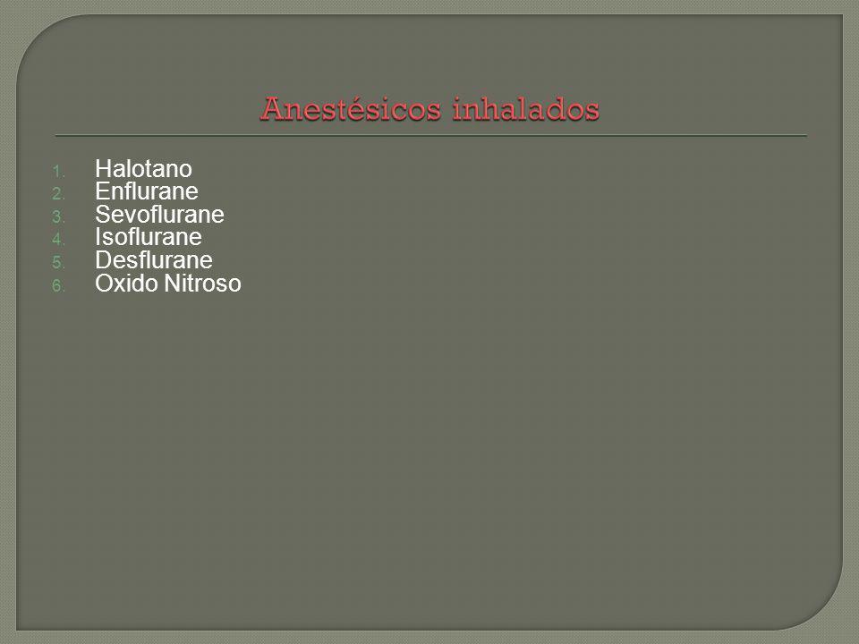 1. Halotano 2. Enflurane 3. Sevoflurane 4. Isoflurane 5. Desflurane 6. Oxido Nitroso