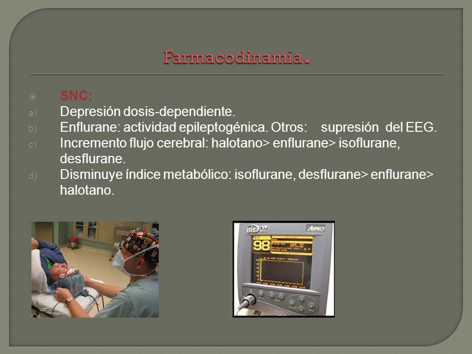 SNC: a) Depresión dosis-dependiente. b) Enflurane: actividad epileptogénica. Otros: supresión del EEG. c) Incremento flujo cerebral: halotano> enflura