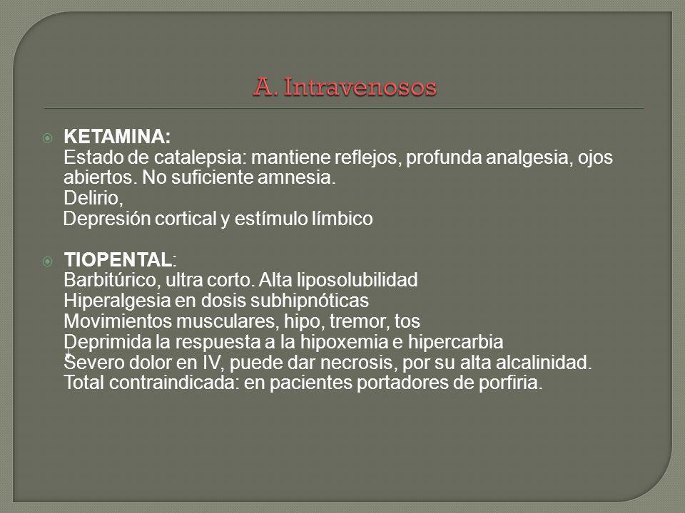 KETAMINA: Estado de catalepsia: mantiene reflejos, profunda analgesia, ojos abiertos. No suficiente amnesia. Delirio, Depresión cortical y estímulo lí