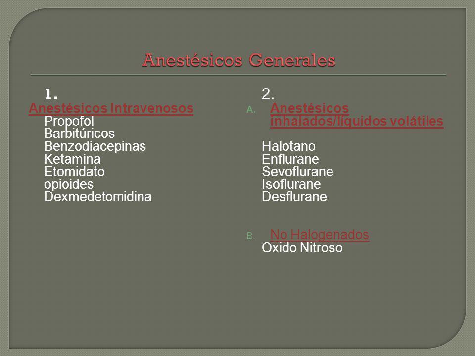 1. Anestésicos Intravenosos Propofol Barbitúricos Benzodiacepinas Ketamina Etomidato opioides Dexmedetomidina 2. A. Anestésicos inhalados/líquidos vol