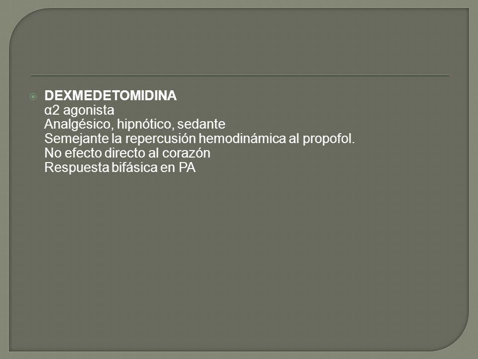 DEXMEDETOMIDINA α2 agonista Analgésico, hipnótico, sedante Semejante la repercusión hemodinámica al propofol. No efecto directo al corazón Respuesta b