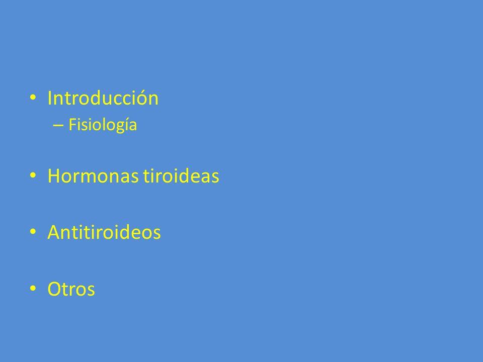Introducción – Fisiología Hormonas tiroideas Antitiroideos Otros