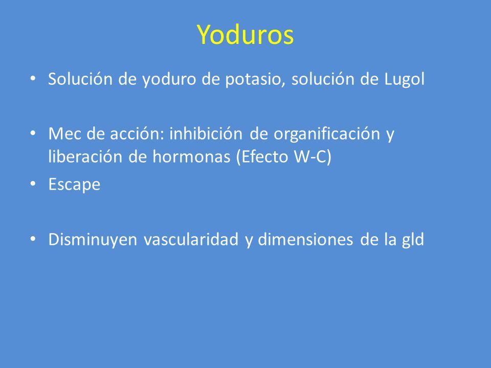 Yoduros Solución de yoduro de potasio, solución de Lugol Mec de acción: inhibición de organificación y liberación de hormonas (Efecto W-C) Escape Dism