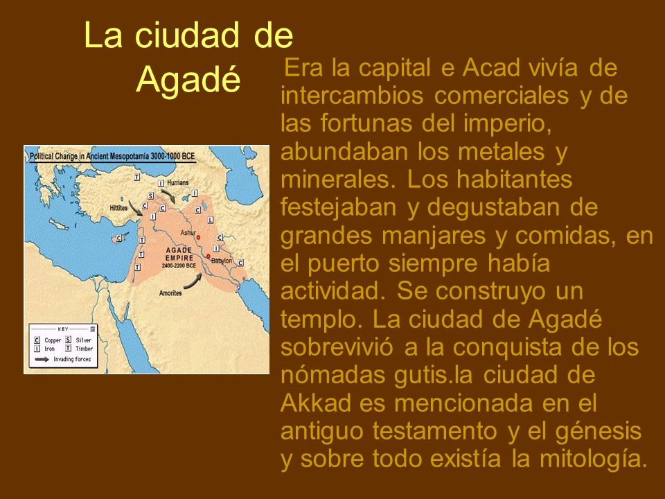 La ciudad de Agadé Era la capital e Acad vivía de intercambios comerciales y de las fortunas del imperio, abundaban los metales y minerales. Los habit