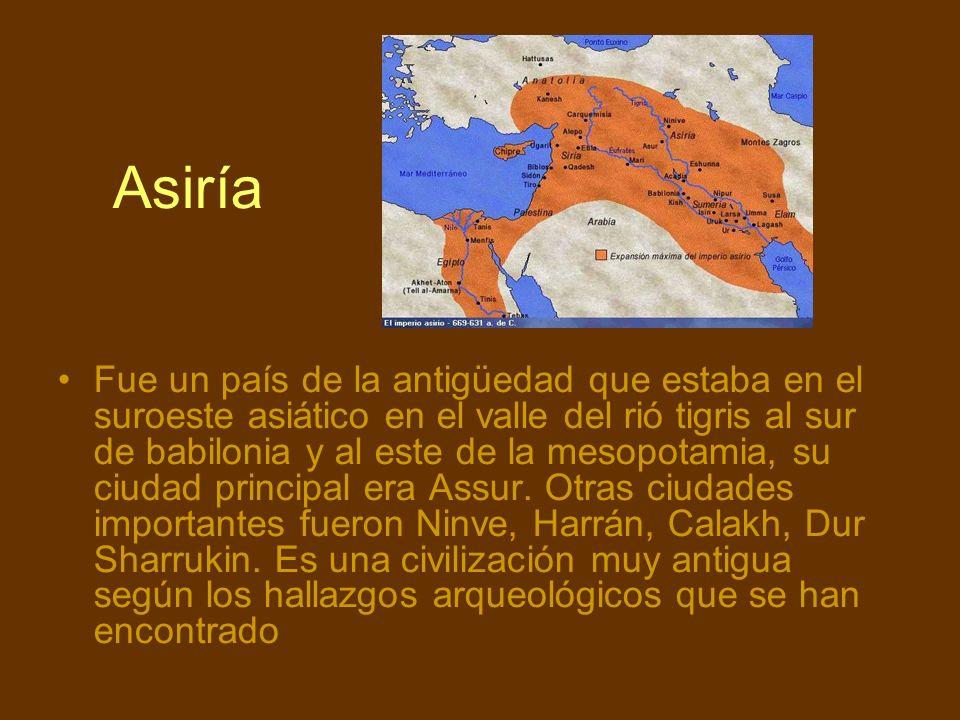 Asiría Fue un país de la antigüedad que estaba en el suroeste asiático en el valle del rió tigris al sur de babilonia y al este de la mesopotamia, su