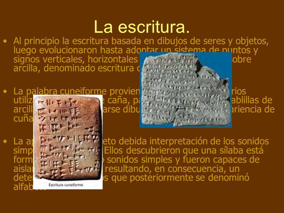 La escritura. Al principio la escritura basada en dibujos de seres y objetos, luego evolucionaron hasta adoptar un sistema de puntos y signos vertical