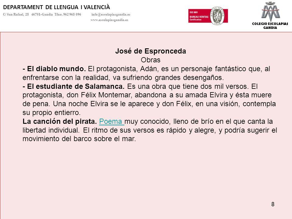 COLEGIO ESCOLAPIAS GANDIA DEPARTAMENT DE LLENGUA I VALENCIÀ C/ San Rafael, 25 46701-Gandia Tfno.