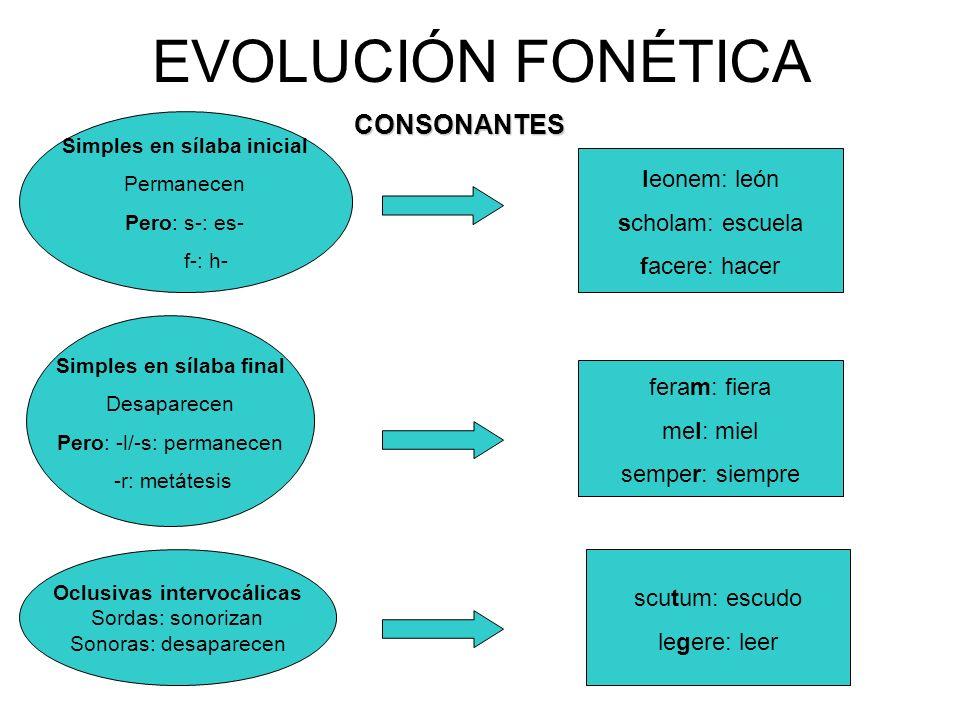 EVOLUCIÓN FONÉTICACONSONANTES Simples en sílaba inicial Permanecen Pero: s-: es- f-: h- Simples en sílaba final Desaparecen Pero: -l/-s: permanecen -r