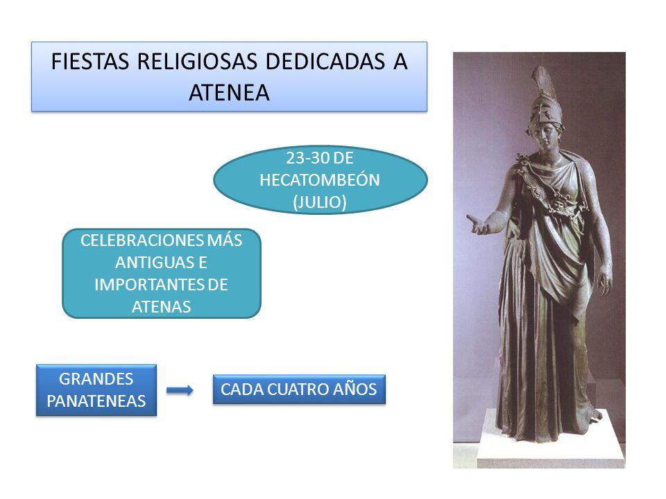 FIESTAS RELIGIOSAS DEDICADAS A ATENEA 23-30 DE HECATOMBEÓN (JULIO) CELEBRACIONES MÁS ANTIGUAS E IMPORTANTES DE ATENAS GRANDES PANATENEAS CADA CUATRO AÑOS