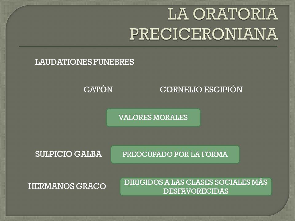 LAUDATIONES FUNEBRES CATÓNCORNELIO ESCIPIÓN SULPICIO GALBA HERMANOS GRACO VALORES MORALES PREOCUPADO POR LA FORMA DIRIGIDOS A LAS CLASES SOCIALES MÁS