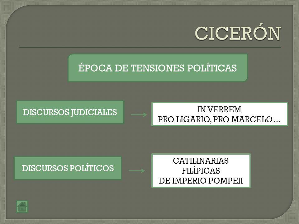 ÉPOCA DE TENSIONES POLÍTICAS DISCURSOS JUDICIALES DISCURSOS POLÍTICOS IN VERREM PRO LIGARIO, PRO MARCELO… CATILINARIAS FILÍPICAS DE IMPERIO POMPEII