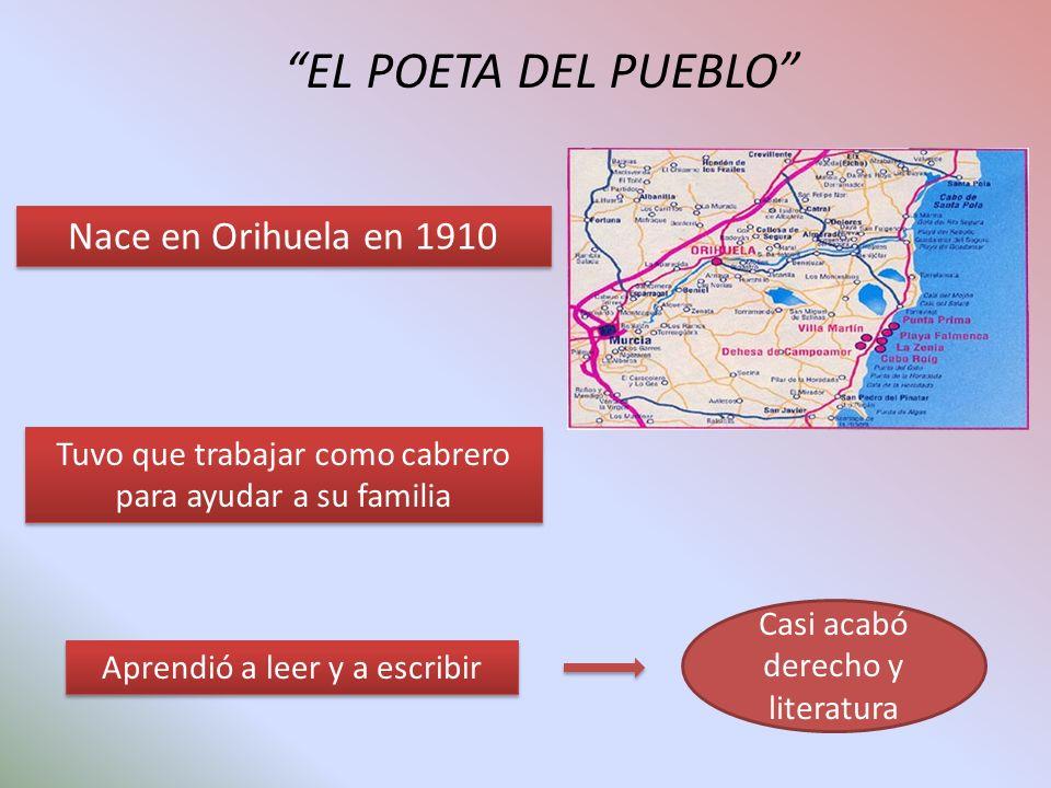 EL POETA DEL PUEBLO Nace en Orihuela en 1910 Tuvo que trabajar como cabrero para ayudar a su familia Aprendió a leer y a escribir Casi acabó derecho y literatura
