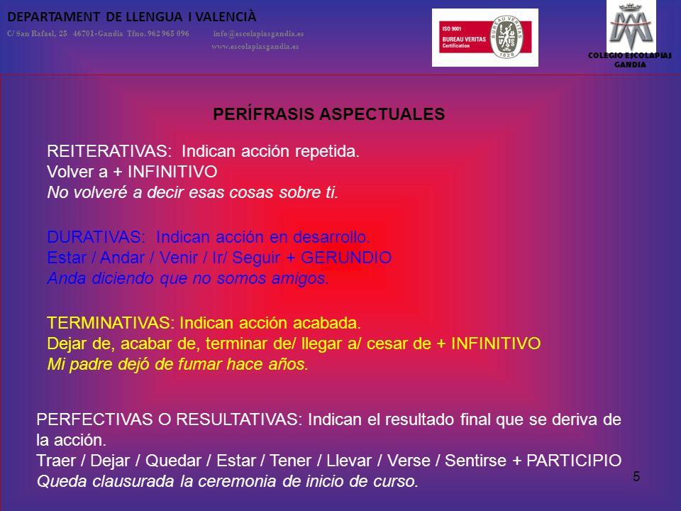 COLEGIO ESCOLAPIAS GANDIA DEPARTAMENT DE LLENGUA I VALENCIÀ C/ San Rafael, 25 46701-Gandia Tfno. 962 965 096 info@escolapiasgandia.es www.escolapiasga
