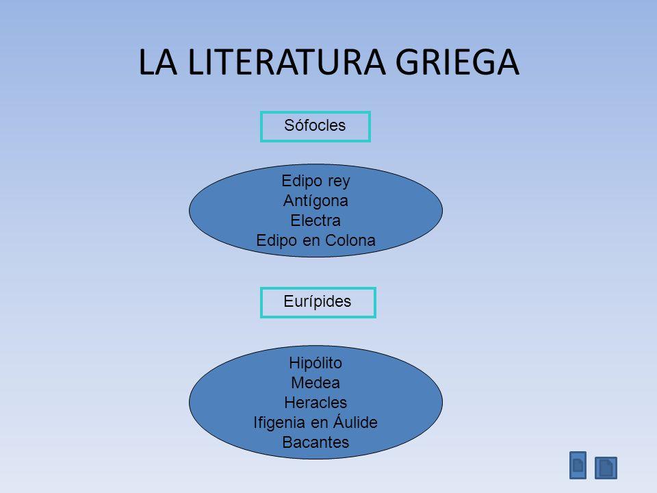 LA LITERATURA GRIEGA Sófocles Edipo rey Antígona Electra Edipo en Colona Eurípides Hipólito Medea Heracles Ifigenia en Áulide Bacantes
