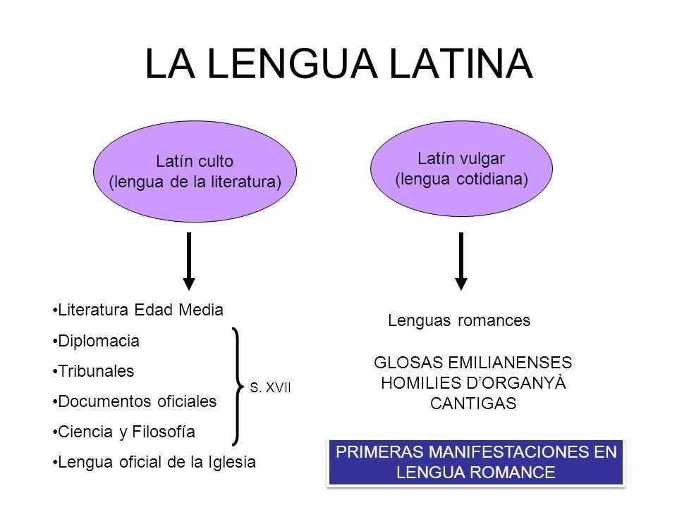 LA LENGUA LATINA Latín culto (lengua de la literatura) Latín vulgar (lengua cotidiana) Literatura Edad Media Diplomacia Tribunales Documentos oficiale