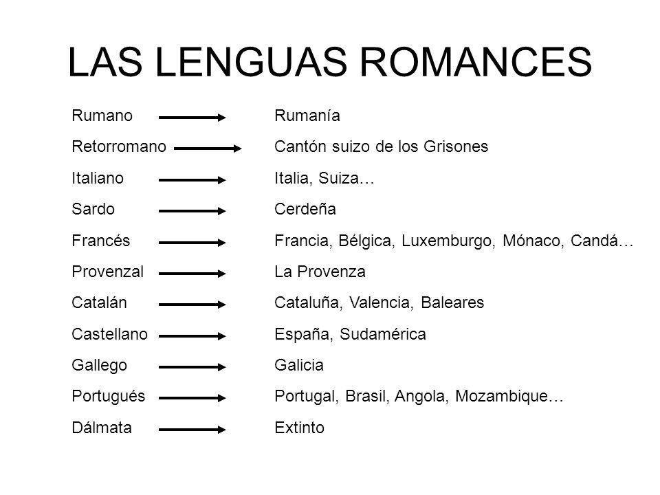 LAS LENGUAS ROMANCES Rumano Retorromano Italiano Francés Provenzal Castellano Portugués Gallego Catalán Sardo Dálmata Rumanía Italia, Suiza… Cantón su