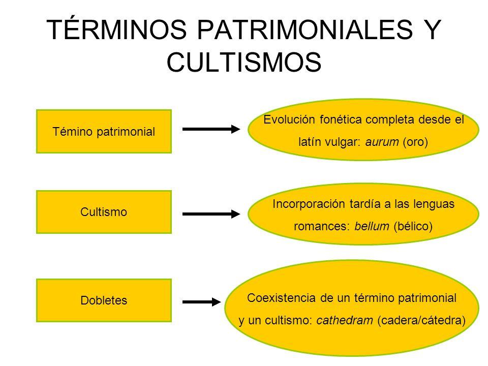 TÉRMINOS PATRIMONIALES Y CULTISMOS Témino patrimonial Cultismo Evolución fonética completa desde el latín vulgar: aurum (oro) Incorporación tardía a l