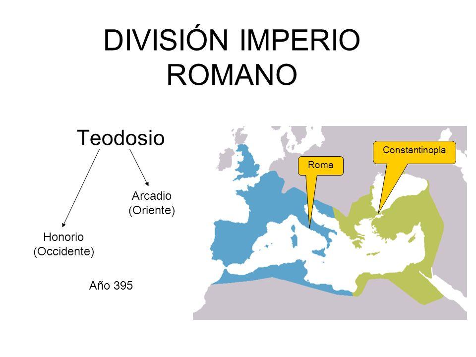 DIVISIÓN IMPERIO ROMANO Teodosio Arcadio (Oriente) Honorio (Occidente) Año 395 Constantinopla Roma