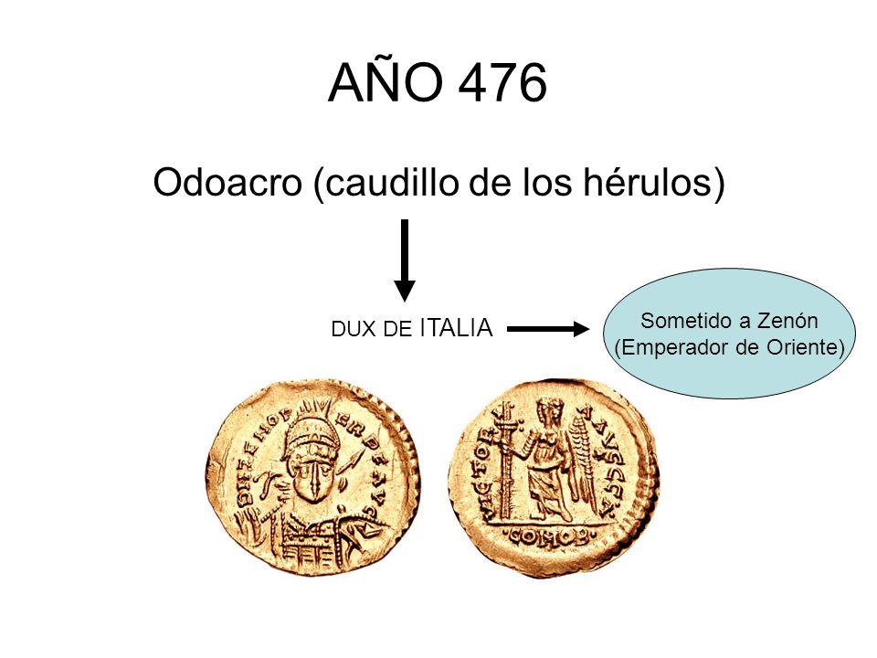 AÑO 476 Odoacro (caudillo de los hérulos) DUX DE ITALIA Sometido a Zenón (Emperador de Oriente)