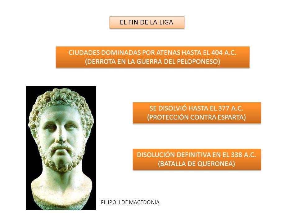 EL FIN DE LA LIGA CIUDADES DOMINADAS POR ATENAS HASTA EL 404 A.C.