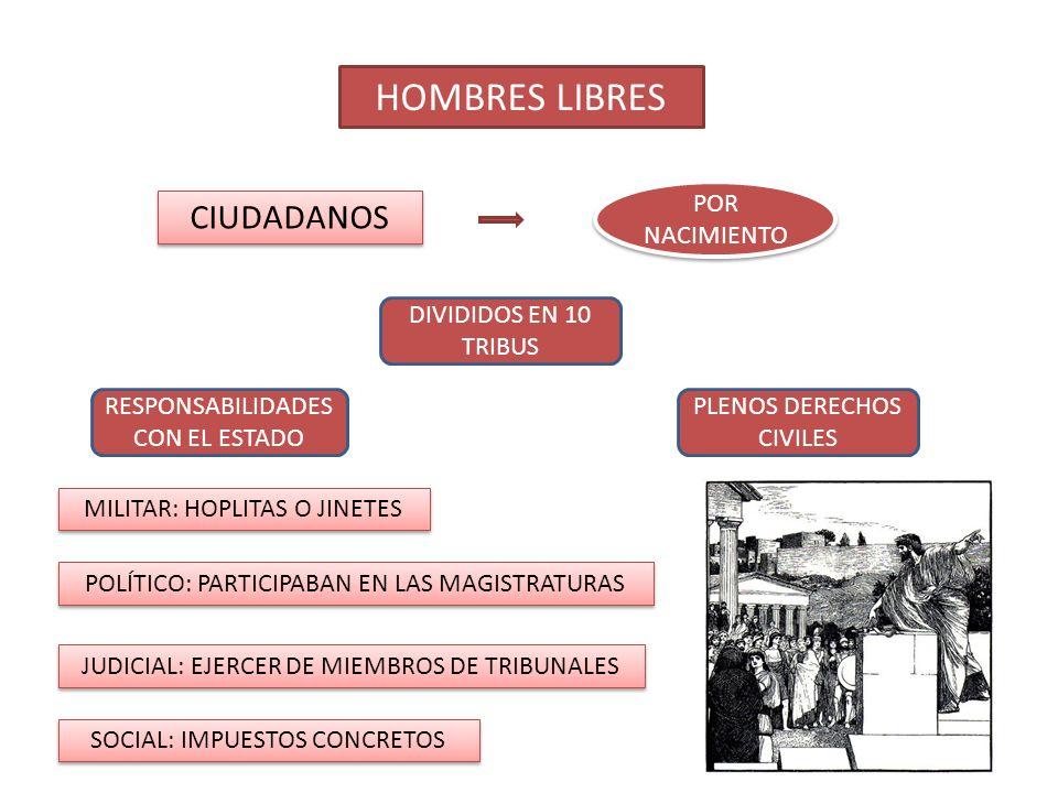 HOMBRES LIBRES CIUDADANOS POR NACIMIENTO DIVIDIDOS EN 10 TRIBUS PLENOS DERECHOS CIVILES RESPONSABILIDADES CON EL ESTADO MILITAR: HOPLITAS O JINETES POLÍTICO: PARTICIPABAN EN LAS MAGISTRATURAS JUDICIAL: EJERCER DE MIEMBROS DE TRIBUNALES SOCIAL: IMPUESTOS CONCRETOS