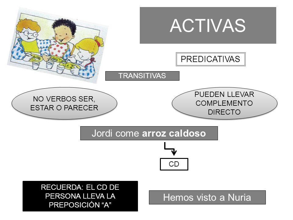 ACTIVAS Ana viaja en tren INTRANSITIVAS PREDICATIVAS SUELEN APARECER VERBOS DE MOVIMIENTO NO PUEDEN LLEVAR COMPLEMENTO DIRECTO CC ATENCIÓN: CD REDUNDANTE.