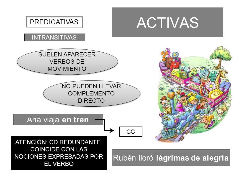 ACTIVAS Ana viaja en tren INTRANSITIVAS PREDICATIVAS SUELEN APARECER VERBOS DE MOVIMIENTO NO PUEDEN LLEVAR COMPLEMENTO DIRECTO CC ATENCIÓN: CD REDUNDA