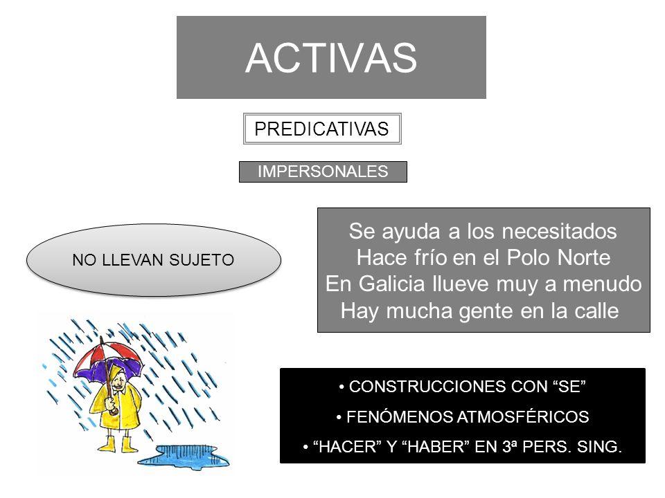 ACTIVAS Se ayuda a los necesitados Hace frío en el Polo Norte En Galicia llueve muy a menudo Hay mucha gente en la calle IMPERSONALES PREDICATIVAS NO