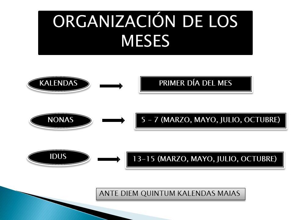 ORGANIZACIÓN DE LOS MESES KALENDAS IDUS NONAS PRIMER DÍA DEL MES 5 – 7 (MARZO, MAYO, JULIO, OCTUBRE) 13-15 (MARZO, MAYO, JULIO, OCTUBRE) ANTE DIEM QUI