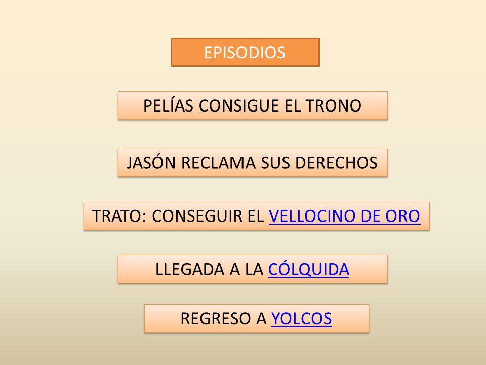 EPISODIOS PELÍAS CONSIGUE EL TRONO JASÓN RECLAMA SUS DERECHOS LLEGADA A LA CÓLQUIDACÓLQUIDA LLEGADA A LA CÓLQUIDACÓLQUIDA TRATO: CONSEGUIR EL VELLOCINO DE OROVELLOCINO DE ORO TRATO: CONSEGUIR EL VELLOCINO DE OROVELLOCINO DE ORO REGRESO A YOLCOSYOLCOS REGRESO A YOLCOSYOLCOS