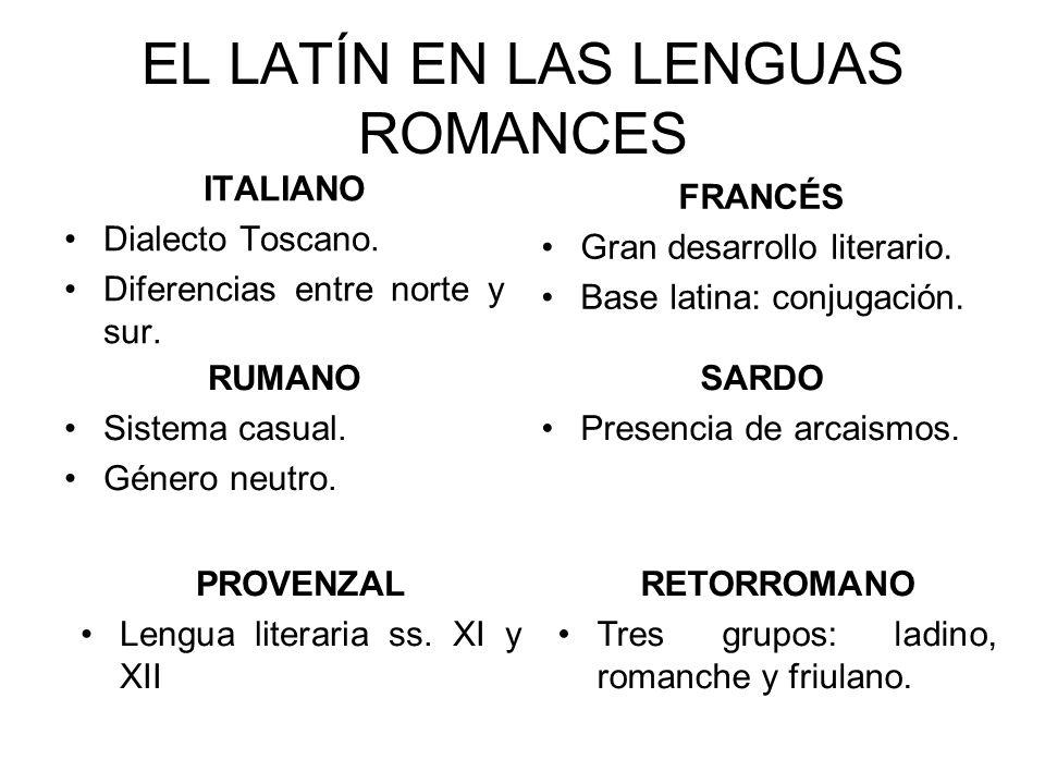 EL LATÍN EN LAS LENGUAS ROMANCES ITALIANO Dialecto Toscano.