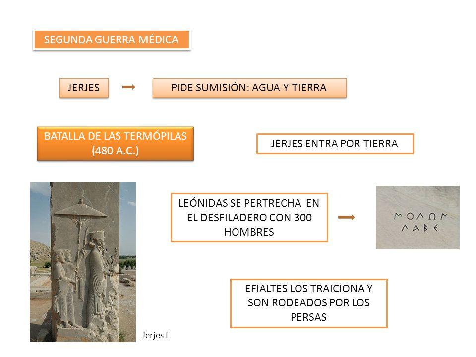 SEGUNDA GUERRA MÉDICA JERJES PIDE SUMISIÓN: AGUA Y TIERRA BATALLA DE LAS TERMÓPILAS (480 A.C.) BATALLA DE LAS TERMÓPILAS (480 A.C.) JERJES ENTRA POR T