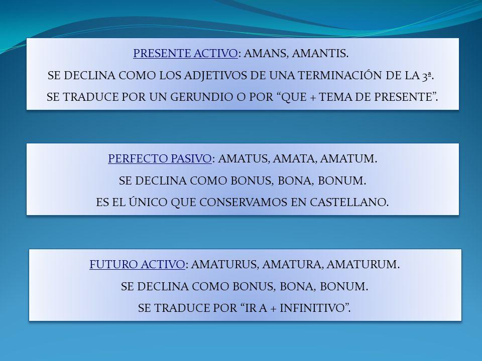 SINGULARPLURAL M/FN N NAMANS AMANTESAMANTIA ACAMANTEMAMANSAMANTESAMANTIA GAMANTIS AMANTIUM DAMANTI AMANTIBUS AB AMANTI AMANTE AMANTI AMANTE AMANTIBUS PARTICIPIO DE PRESENTE