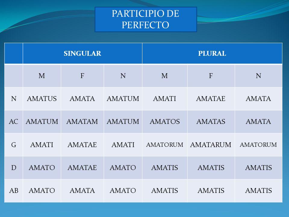 PARTICIPIO DE FUTURO SINGULARPLURAL MFNMFN NAMATURUSAMATURA AMATURU M AMATURIAMATURAEAMATURA AC AMATURUM AMATURAM AMATURUM AMATUROSAMATURASAMATURA GAMATURIAMATURAEAMATURI AMATURORUM AMATURARUM AMATURORUM DAMATUROAMATURAEAMATUROAMATURIS ABAMATUROAMATURAAMATUROAMATURIS