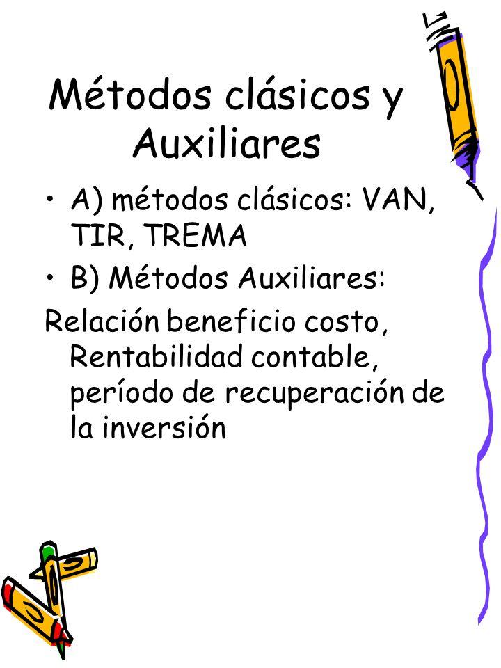 Métodos clásicos y Auxiliares A) métodos clásicos: VAN, TIR, TREMA B) Métodos Auxiliares: Relación beneficio costo, Rentabilidad contable, período de recuperación de la inversión
