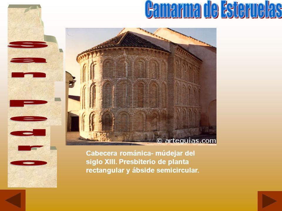 Cabecera románica- múdejar del siglo XIII. Presbiterio de planta rectangular y ábside semicircular.