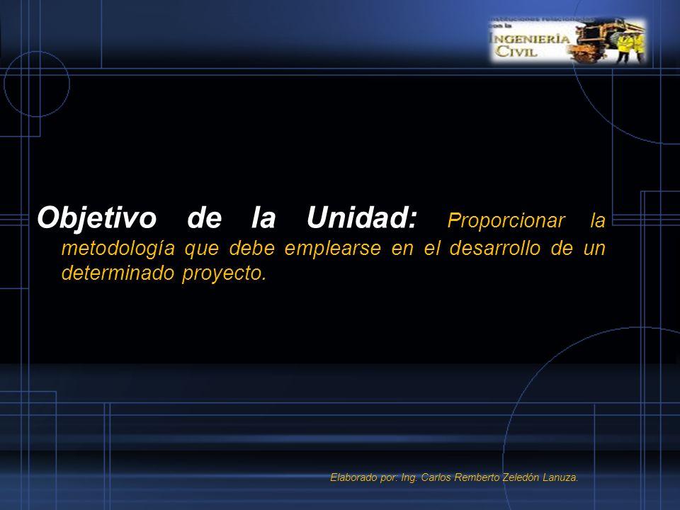Objetivo de la Unidad: Proporcionar la metodología que debe emplearse en el desarrollo de un determinado proyecto. Elaborado por: Ing. Carlos Remberto