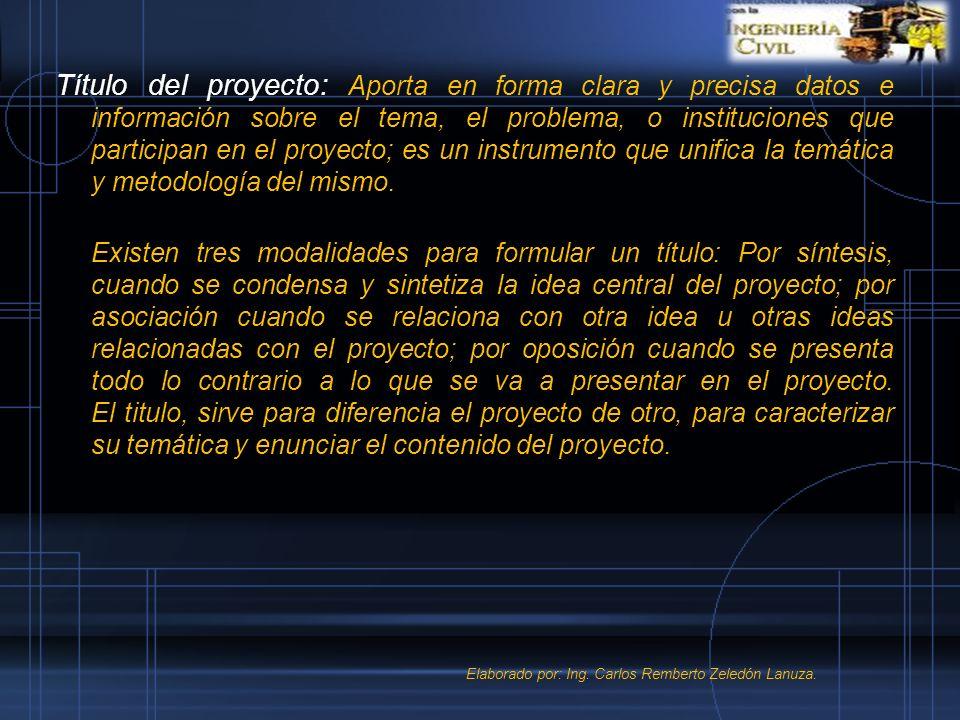 Título del proyecto: Aporta en forma clara y precisa datos e información sobre el tema, el problema, o instituciones que participan en el proyecto; es