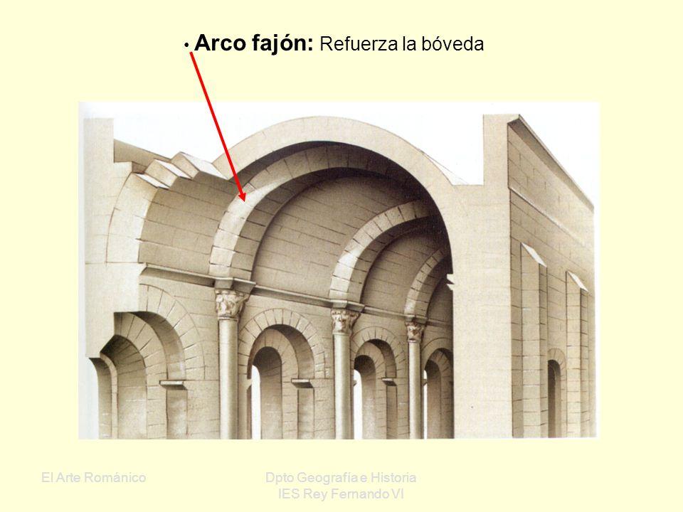 El Arte RománicoDpto Geografía e Historia IES Rey Fernando VI Bóveda de arista: Se origina al cruzarse perpendicularmente dos bóvedas de cañón +