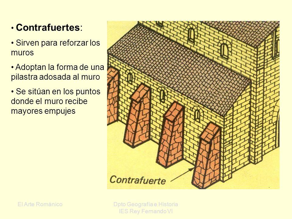 El Arte RománicoDpto Geografía e Historia IES Rey Fernando VI Arco fajón: Refuerza la bóveda